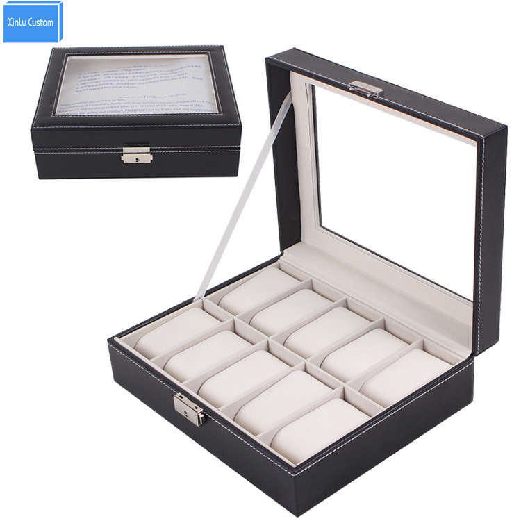 10 Grids Glass Top Leather Watch Display Storage Case With Lock  (Black)  Grid Watch Display Case Box Jewelry Organizer<br>