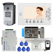 "Free Shipping Home 7"" Color Video Door Phone Intercom Kit + 1 RFID Access Camera + 1 Monitor + Electric Control Lock Wholesale"