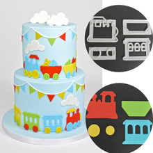 4PCS/SET Train Cutter Plastic Cake Decorating Mold Sugarcraft Mold Cookie Cutting
