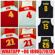 Mens #21 Retro Dominique Wilkins Jersey Stitched Wholesale Cheap High Quality #4 Paul Millsap Jersey Throwback Basketball Jersey