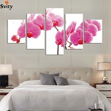 Fashion 5panel/lot Modern canvas painting HD Large image wall painting flower artwork unframe H086 Giveaways wall sticker