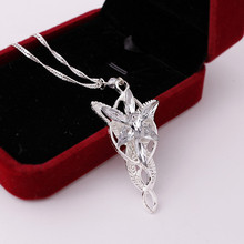 2016 Wizard Princess Arwen Evenstar silver color Pendant Necklace Collares Evening Star Crystal Necklaces For Women