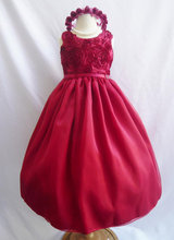 Flower Girl Dress - RED Swirled Rosette Dress - Bridesmaid, Communion, Easter, Wedding - Toddler, Teen Little Girl Dresses 12 Y