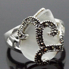 Hot sale new Style >>>> Vintage Style 12X15MM White Opal Marcasite 925 STERLING SILVER RING 7/8/9