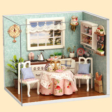 DIY Wooden Handmade Miniature Doll Hut Kitchen Model With Dust Cover Toy Gift