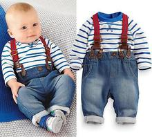 Fashion New Newborn Baby Kids Boy Girls Spring Long Sleeve Clothes Stripe Top + Jeans Pants 2pcs Sets Outfits 3 6 12 24 Monthes(China)