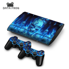 For PS3 PlayStation 3 Super Slim 4000 + 2 Controllers Blue Fire Skull Decal Stickers Skins Cover Case