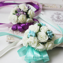 Wrist Sisters Hand Flower Marriage Korean Bride Bride Corsage Bridesmaid Brigade Flower Daphne Blue(China)