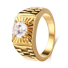 Top Quality Italian Brand Jewelry Gold Color Male Ring With AAA CZ Lovers Promise Engagement Ring for Men