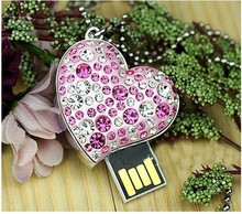 USB key pendant necklace U disk 32 GB exquisite gift diamond crystal sweetheart memory stick