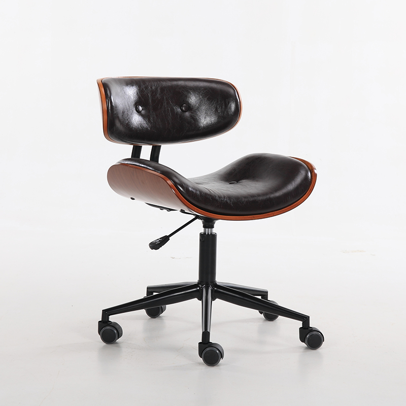 Bentwood Button Tufted Adjustable Height Swivel Mobile Desk Chair Office Furniture Modern Computer Wood Chair with Caster Lift(China (Mainland))