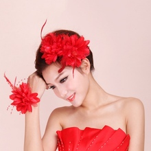 Hot Flower Feather Bead Corsage Hair Clips Fascinator Bridal Hairband Brooch Pin(China)