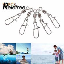 Relefree 50Pcs Fishing Swivel Pin Bearing Steel With Snap Fish Hook Lure Connector Tackle