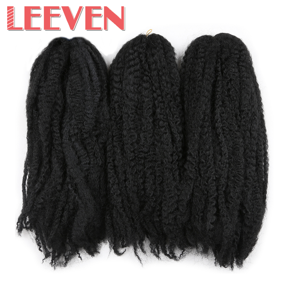 Leeven 18'' Afro Kinky Twist Hair Crochet Braid Extension DIY For Black Women Synthetic Braiding Hair High Temperature Fiber(China (Mainland))