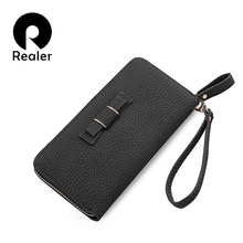 REALER brand women wallet casual long purse zipper wallet female small clutch bag with bowknot ladies purses