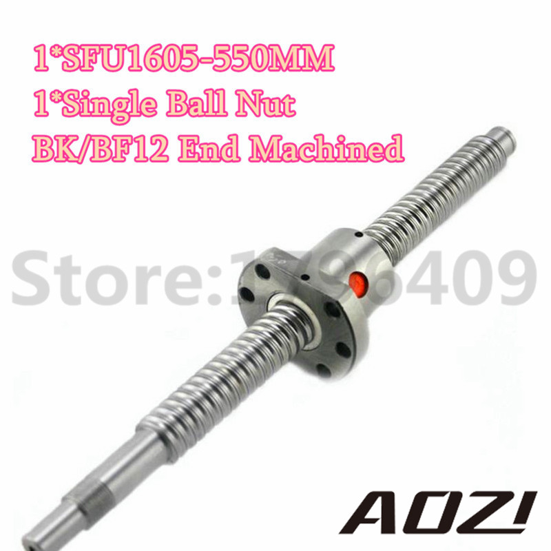 SFU1605 550mm RM1605 550mm Rolled Ball Screw 1pc+1pc Ball Nut For SFU1605+BK12 BF12 End Machined Free Shipping<br>