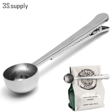 Stainless Steel Silver Coffee Scoops Bag Seal Clip Milk Powder Flesh Espresso Tea Scoop Ice Cream Spoon Barista Cooking Tools