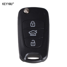 KEYYOU New 3 Buttons Flip Folding Remote Key Shell For Hyundai IX35 KIA Rondo Sportage Soul Rio With HYUNDAI LOGO