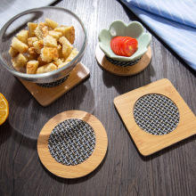 Practical Bamboo Table Cup Mat Round place mat Coffee Drinks Coasters, kitchen accessories.(China)