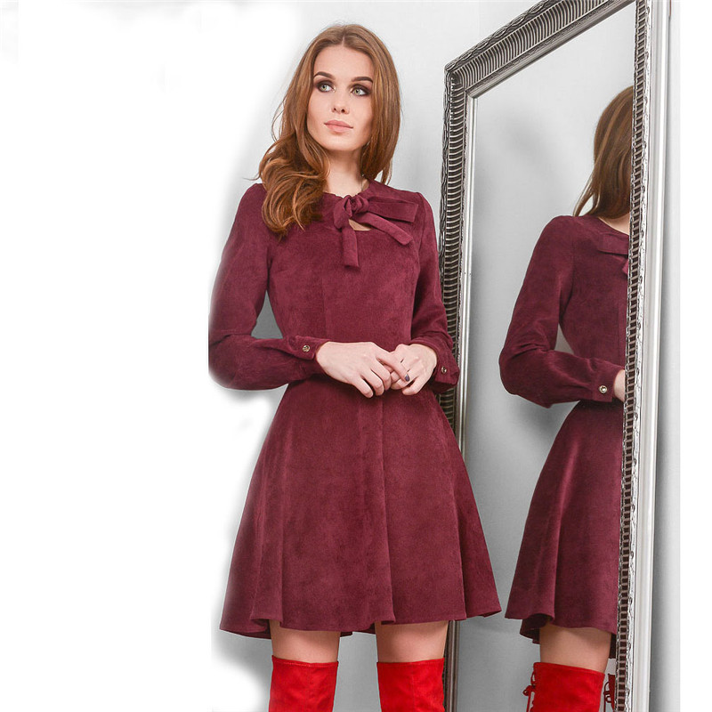 Autumn Winter Dresses Women 2018 Casual Long Sleeve Dress Black Red Vintage Mini Christmas Simulation Of Deerskin Velvet Dress 6