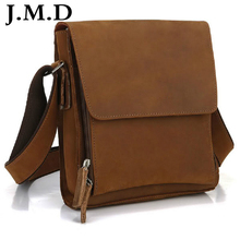 J.M.D 2017 New High Quality 100% Genuine Leather Handbags Crazy Horse Leather Sling Bag Men Messenger Bag Cross Body 7055(China)