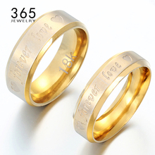Valentine's Day Gift 316L Stainless Steel Ring Engrave Letter Forever Love Promise Engagement Rings for Men Women 1 Piece(China)