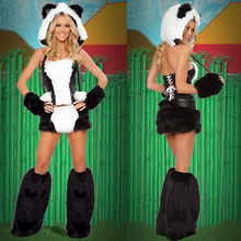 2016 New Sexy Adult Halloween Cosplay Costumes Wolf Panda Plush Animal Costume For Women Black And White Party Uniforms Set