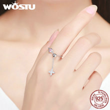 WOSTU New Style 925 Sterling Silver Lucky Clover Chain Rings For Women Fine S925 Silver Jewelry Gift BKR149(China)