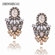 Good quality big crystal earring 2017 New statement fashion stud Earrings for women e01(China)