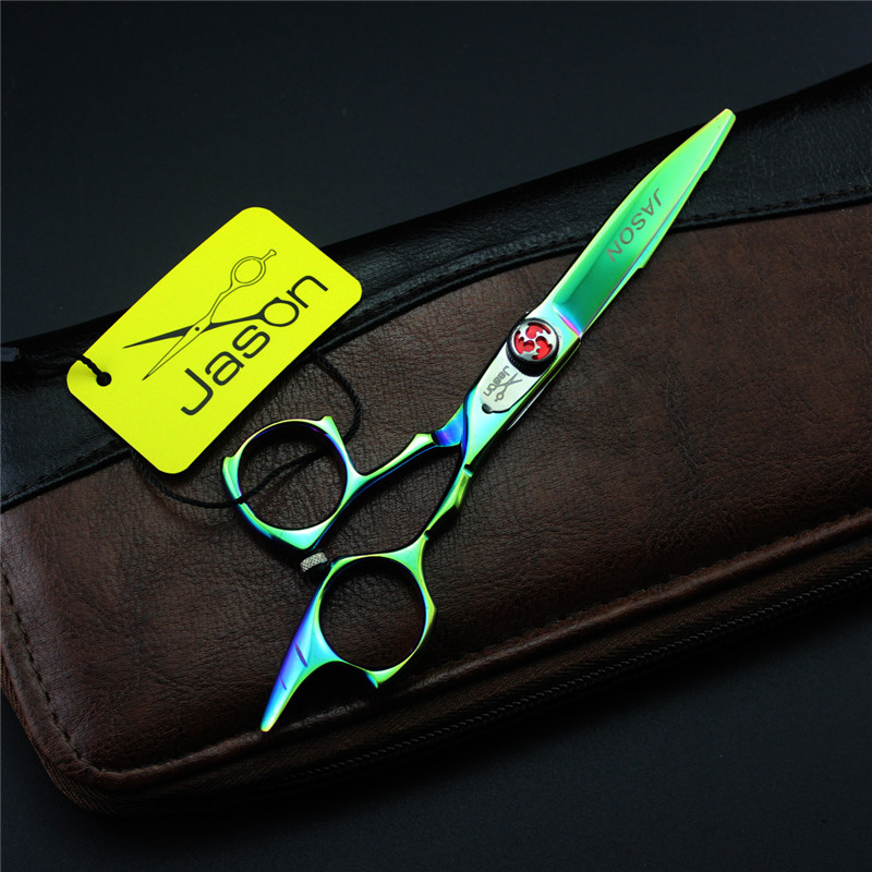 5.5 Inch Personalized Green Hair Scissors Barber Cutting  Shears Salon Barber Shears Kit with Bag Professional Hairdressing<br>
