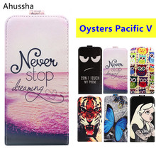 "Luxury Cartoon Pattern Print 5"" Flip Up and Down PU Leather Case For Oysters Pacific V Cover Phone Bags,Gift"