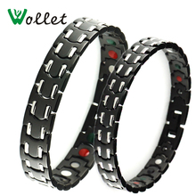 Wollet 5 in 1 Healing Energy Infrared Germanium Negative Ion Magnetic Gold Black Stainless Steel Bracelet Bangle Men Women