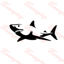 2X 2017 hot car-styling  Novelty White Shark Car Sticker For Cars Side, Truck Window ,Auto SUV Door Kayak Vinyl Decal  JDM