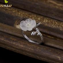 Flyleaf 100% 925 Sterling Silver Crystal Plum Branches Open Rings For Women Elegant Lady High Quality Fashion Jewelry(China)