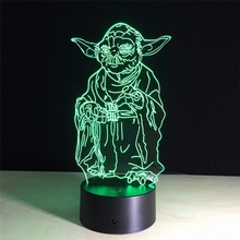 Star Wars Yoda 3d Lamp 7 Color Change Remote Switch Small Night Light Colored Lights Atmosphere Lamp Bedroom Light For Gift(China)