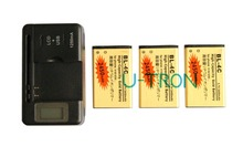 3pcs 2450mAh BL-4C BL4C Gold Replacement Battery + LCD Charger For Nokia 6100 6300 2650 5630  6131 6600f 6700S 6260 7210 6702s