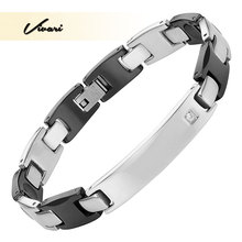 Vivari 2017 Unisex Shiny Stainless Steel Bracelers for Women Crystal Ceramic Bracelet Men Charm Jewelry Germanium Bangle