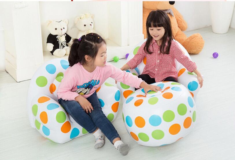 children polka dots inflatable air bean bag armchair, kids play sofa, games beanbag chair with ottoman <br>