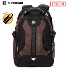 Suissewin Fashion Men's Casual Daily Backpack Swissgear College Student Nylon Backpack Quality Laptop Bag SN9071 Brown Blue Sac(China)