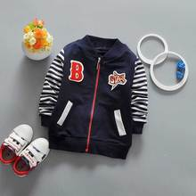 2017 New Spring Casual Baby boyls Children's Long sleeve Striped Sleeves Letter B patch Outwear Coats jack cardigan Y2040