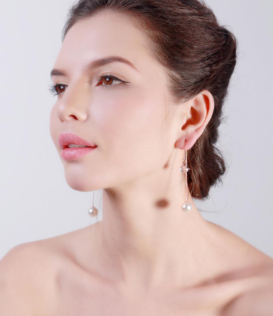 Effie Queen Fashion Cute Ear Wire Earrings Female Models Long Drop Crystal Imitation Pearl Jewelry Dangle Earrings Brincos DDE26 22