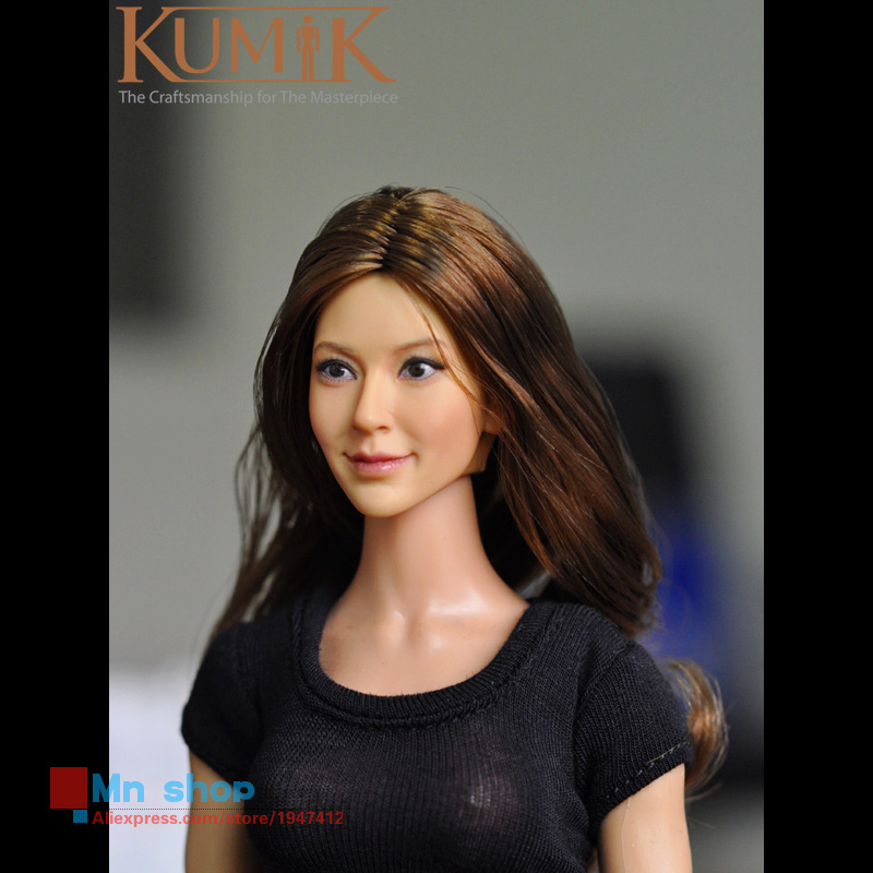 1/6 Action Figure Accessories DIY KUMIK Head Sculpt Smiling CG CY Girl Female Figure Doll Toys Head Carving Painted KM13-96<br><br>Aliexpress