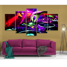 Canvas Painting Wall Art Abstract Unframed 5 Panels Music Radio Decorative Modular Pictures For Living Room Bedroom Prints(China)
