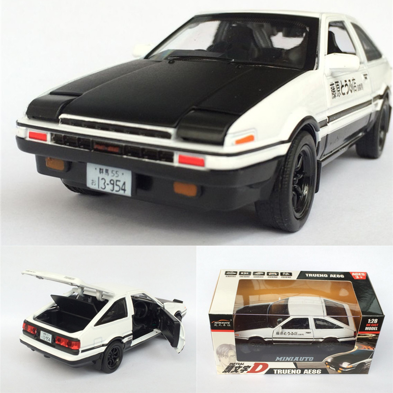 Brand New 1:28 Scale Diecast Toyota Initial D AE86 Car Toy Model With Pull Back Sound Light For Kids Gift Toys Free Shipping(China (Mainland))