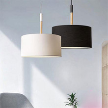 Scandinavian style modern D25cm D40cm pendant lighting high quality black white big fabric cloth shade ceiling pendant lamp(China)