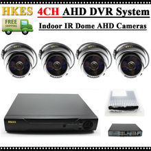 HKES 1.0MP Indoor IR Dome AHD Camera 720P Home Security CCTV System Video Surveillance Set