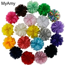 MyAmy 120pcs/lot Mini Ballerina Flowers Unfinished 2.4 Inch Chiffon Ballerina Flowers DIY Hair Acessories Supplies Free Shipping