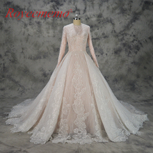 hot sale special lace design Muslim Wedding Dress nude satin all covered Bridal gown long sleeves wedding gown factory directly(China)