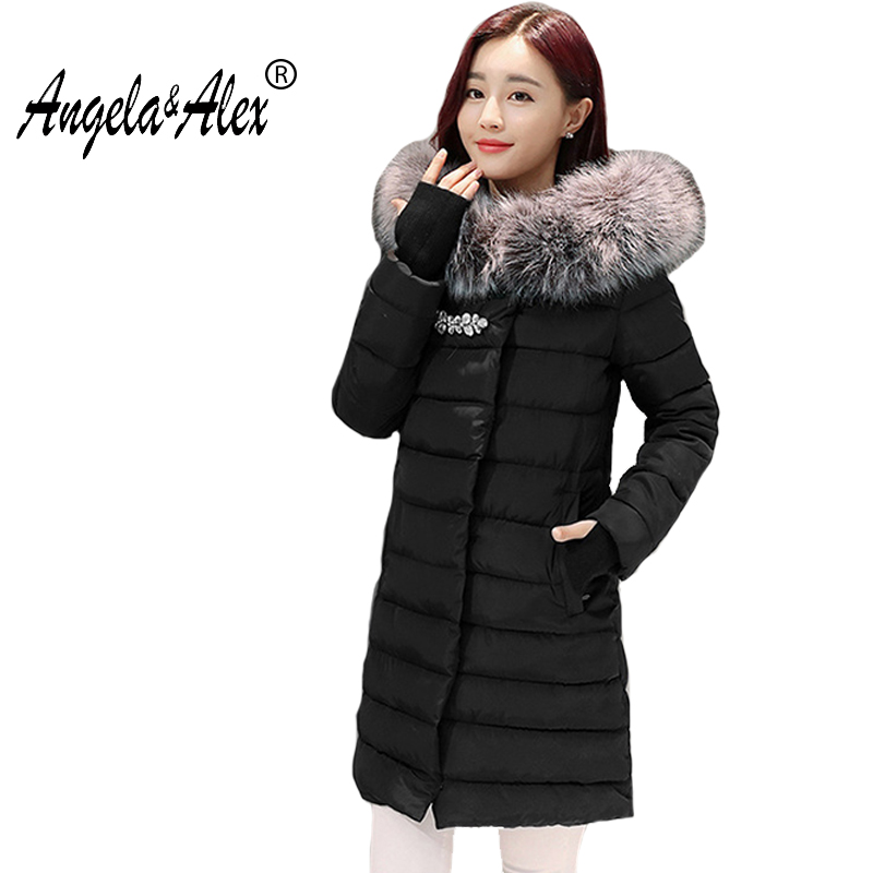2017 New Arrival Women Long Sleeve Parka with Diamond Winter Thicking Elegant Jacket Fur Collar Slim Women Zipper Ladies OutwearÎäåæäà è àêñåññóàðû<br><br>