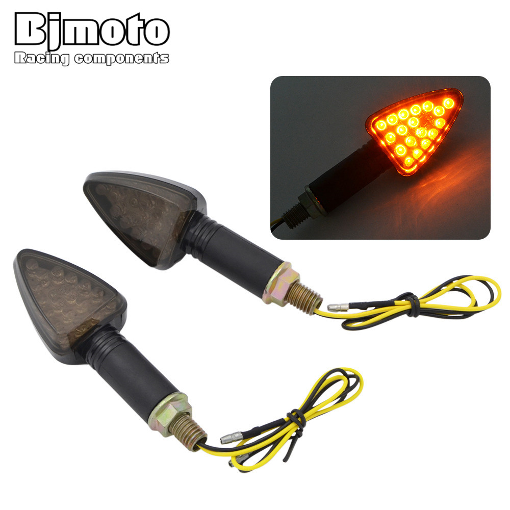 BJGLOBAL Pair Yellow 12 Pcs LEDs Universal Motorcycle Turn Signal Lights Flashing Indicator light For Honda Yamaha Suzuki KTM